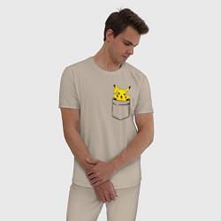 Пижама хлопковая мужская Пикачу в кармане цвета миндальный — фото 2