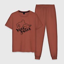 Пижама хлопковая мужская Черная Пантера Мстители цвета кирпичный — фото 1