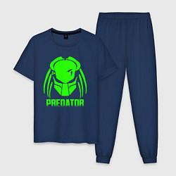 Пижама хлопковая мужская PREDATOR цвета тёмно-синий — фото 1