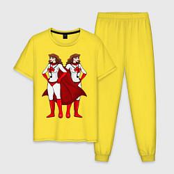Пижама хлопковая мужская Супeргeрои врачи цвета желтый — фото 1