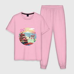 Пижама хлопковая мужская Япония цвета светло-розовый — фото 1
