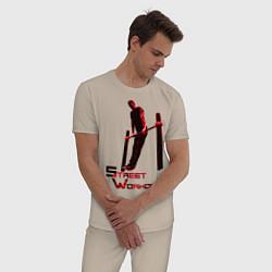 Пижама хлопковая мужская Street Workout Выход Силой цвета миндальный — фото 2