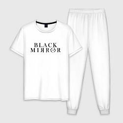 Пижама хлопковая мужская Black Mirror цвета белый — фото 1