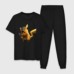 Пижама хлопковая мужская Пушистик Пикачу цвета черный — фото 1