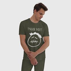 Пижама хлопковая мужская TRAVIS SCOTT цвета меланж-хаки — фото 2