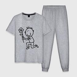 Пижама хлопковая мужская Человечки с цветком парная муж цвета меланж — фото 1