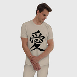 Пижама хлопковая мужская Иероглиф: любовь цвета миндальный — фото 2