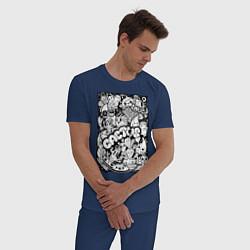 Пижама хлопковая мужская Black and White цвета тёмно-синий — фото 2