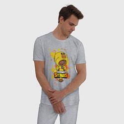 Пижама хлопковая мужская Leon Sally цвета меланж — фото 2