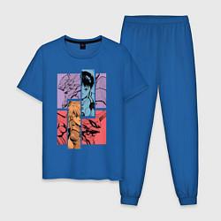 Пижама хлопковая мужская Аска и Синдзи, Евангелион цвета синий — фото 1