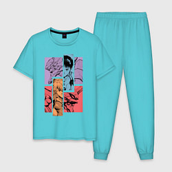 Пижама хлопковая мужская Аска и Синдзи, Евангелион цвета бирюзовый — фото 1