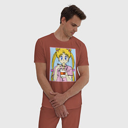 Пижама хлопковая мужская Sailor Moon Usagi Tsukino цвета кирпичный — фото 2