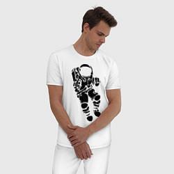 Пижама хлопковая мужская Космонавт цвета белый — фото 2
