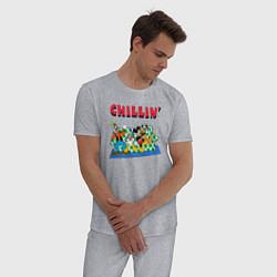 Пижама хлопковая мужская Chillin DIsney цвета меланж — фото 2
