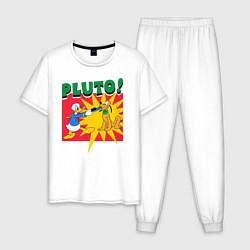 Пижама хлопковая мужская Pluto! цвета белый — фото 1