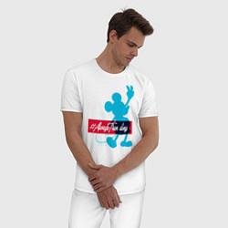 Пижама хлопковая мужская Disney Микки Маус цвета белый — фото 2