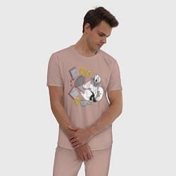Пижама хлопковая мужская Дональд Дак каратист цвета пыльно-розовый — фото 2