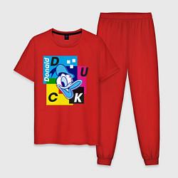 Пижама хлопковая мужская Donald Duck цвета красный — фото 1