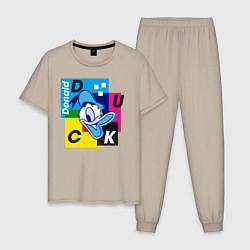 Пижама хлопковая мужская Donald Duck цвета миндальный — фото 1