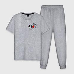 Пижама хлопковая мужская ТИКТОКЕР - PAYTON MOORMEIE цвета меланж — фото 1