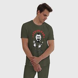 Пижама хлопковая мужская Группа Ленинград цвета меланж-хаки — фото 2