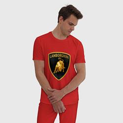 Пижама хлопковая мужская Лаборджини цвета красный — фото 2