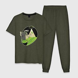 Пижама хлопковая мужская НЛО похищает корову цвета меланж-хаки — фото 1