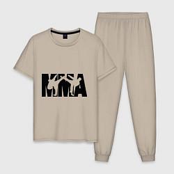 Пижама хлопковая мужская Mixed martial arts цвета миндальный — фото 1