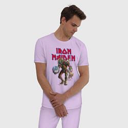 Пижама хлопковая мужская Iron Maiden цвета лаванда — фото 2