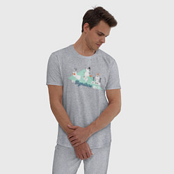 Пижама хлопковая мужская Холодное сердце цвета меланж — фото 2