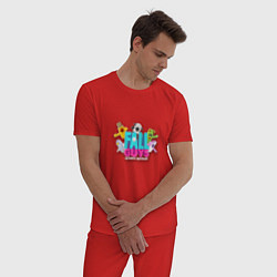 Пижама хлопковая мужская Fall Guys цвета красный — фото 2