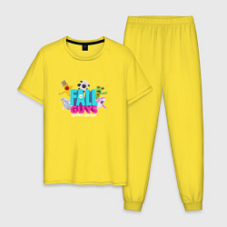 Пижама хлопковая мужская Fall Guys Ultimate Knockout цвета желтый — фото 1