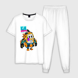 Пижама хлопковая мужская Fall Guys Ultimate Knockout цвета белый — фото 1