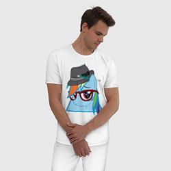 Пижама хлопковая мужская Rainbow Dash hipster цвета белый — фото 2