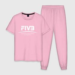 Пижама хлопковая мужская FIVB ВОЛЕЙБОЛ цвета светло-розовый — фото 1
