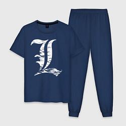 Пижама хлопковая мужская Death Note цвета тёмно-синий — фото 1