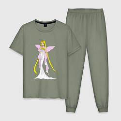 Пижама хлопковая мужская Sailor MoonСеренити цвета авокадо — фото 1