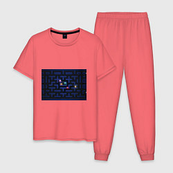 Пижама хлопковая мужская Pacman цвета коралловый — фото 1