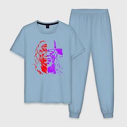 Пижама хлопковая мужская Brothers of Destruction цвета мягкое небо — фото 1