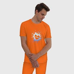 Пижама хлопковая мужская ATEEZ цвета оранжевый — фото 2