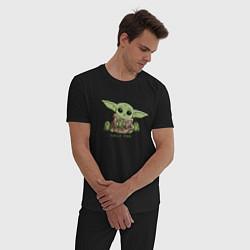 Пижама хлопковая мужская Время перекуса цвета черный — фото 2