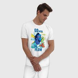 Пижама хлопковая мужская Go With The Flow цвета белый — фото 2