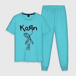Пижама хлопковая мужская Korn цвета бирюзовый — фото 1