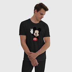 Пижама хлопковая мужская Микки цвета черный — фото 2