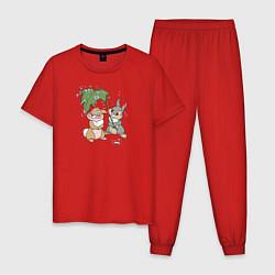Пижама хлопковая мужская Забота цвета красный — фото 1