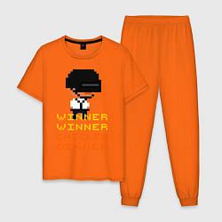 Пижама хлопковая мужская PUBG Winner Chicken Dinner цвета оранжевый — фото 1
