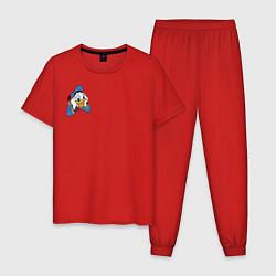 Пижама хлопковая мужская Дональд Дак цвета красный — фото 1