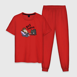 Пижама хлопковая мужская Все равно цвета красный — фото 1