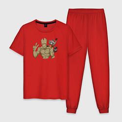 Пижама хлопковая мужская Грут и Ракета цвета красный — фото 1