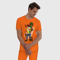 Пижама хлопковая мужская CRASH BANDICOOT цвета оранжевый — фото 2